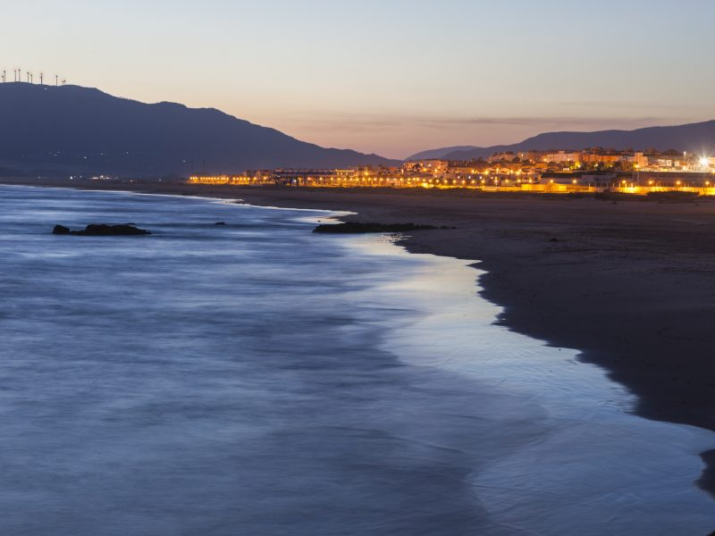 Panorama of Tarifa at sunset. Tarifa, Andalusia, Spain.
